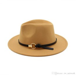 b068770fba5 New Fashion felt jazz hats Classic TOP hats for men women Elegant Solid felt  Fedora Hat Band Wide Flat Brim Stylish Trilby Panama Caps