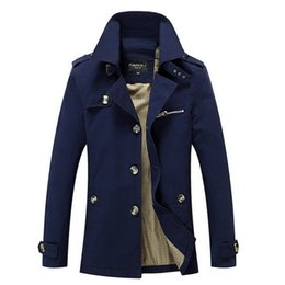 Cotton Trench Australia - 2019 New Arrival Fashion Trench Coat Men Plus Size 5xl Trench Men Solid 100% Cotton Casual Jacket Men Khaki Coats For Mens