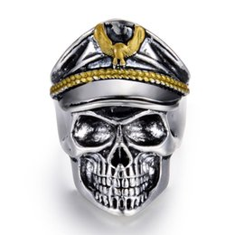 hat free Australia - Pop Fashion Goood4store New Retro Officers Skull Punk Skeleton Ring Hawk Hat Alloy Jewelry Ring For Men Free Shipping