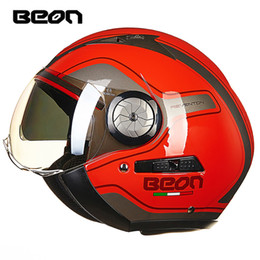 $enCountryForm.capitalKeyWord NZ - BEON Motorcycle Helmet Moto Casco 3 4 Open Face Motorbike Capacete Vintage Retro Biker Scooter Helmet Double Visor