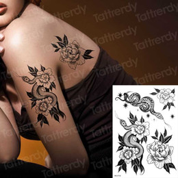 body sticker sex woman Australia - temporary back tattoos black snake flower sex tattoo for woman girls stretch tattoo designs body stickers water transfer decal