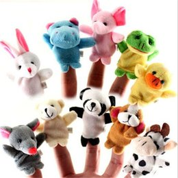 cute puppets UK - 10pcs set Unisex Kids Toy Finger Puppets Finger Animals Toys Cute Cartoon Children's Toy Stuffed Animals Toys M1479