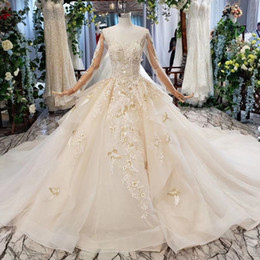 Real pRincesses dResses online shopping - 2019 latest bohemian wedding dress illusion o neck long tulle sleeve open keyhole back lace applique princess ball gown wedding dresses new