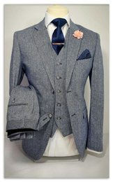 mens grey tweed piece suit Australia - Grey Smoking Tweed Men Suit Fashion 3 Pieces Groom Tuxedo Mens Suits Custom Made Slim Fit Groomsmen ( Jacket+Pants+Vest)