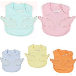 Wholesale 2019 Cute Personalized Solid Color Baby Bandana Drool Bibs With Angel wings For Girl Boys Colors
