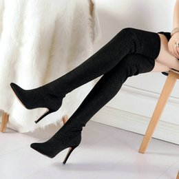 f29d7d87c fashion stovepipe pointed heel sexy women Sexy Thin Heel Sock Boots High  Quality Thigh High Boots Ladies Over The Knee