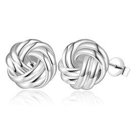 9f22e69bf stamped 925 new sterling silver woven earrings ,women's S925 silver stud  earrings