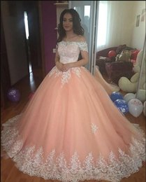 $enCountryForm.capitalKeyWord Australia - Sweet 16 Peach Quinceanera Dresses 2019 Off Shoulder Tulle Appliques Puffy Corset Back Ball Gown Princess Formal Prom Party Gowns