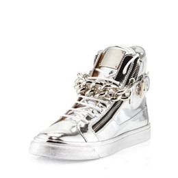$enCountryForm.capitalKeyWord Australia - Newest Men Wedge Gold Sneakers High Top Zipper Lace Up Sneakers Casual Shoes with Big Chains Wholesale Cheap Price