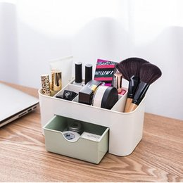 Drawer Desk Storage Boxes Australia - Cosmetic Jewelry Organizer Office Storage Drawer Desk Makeup Case Plastic Makeup Brush Box Lipstick Remote Control