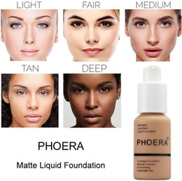 Discount matte liquid foundation - Famous Brand Face Makeup Foundation PHOERA Matte Oil-control Liquid foundation 10 Colors Concealer DHL Free Shipping