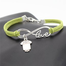Sleeve Chain Australia - 2019 New Fashion Green Leather Suede Punk Infinity Love Baby Short Sleeve Clothes T-shirt Romper Bracelet Women Men Charm Wrap Metal Jewelry