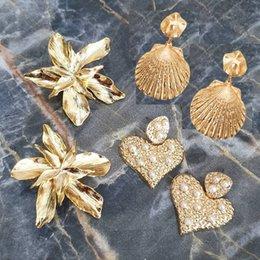 Großhandel Vintage Metall Blume Baumeln Ohrringe Für Frauen Gold Farbe Herz Aussage Ohrringe Weibliche Boho Brincos Hochzeit Schmuck