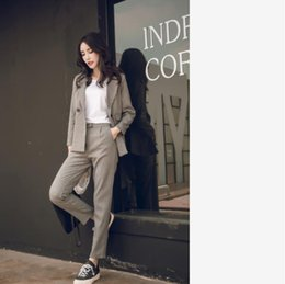 Discount two piece office suit - Women Two Piece Sets Short Gray Solid Blazer + High Waist Pant Office Lady Notched Jacket Pant Suits Korean Outfits Femm
