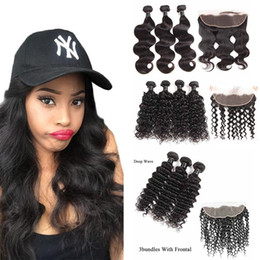 34 inches hair Australia - Brazilian Virgin Hair Lace Frontal Closure With Bundles Body Wave Straight Human Hair Bundles With Frontal Hair Extensions Loose Deep Wave