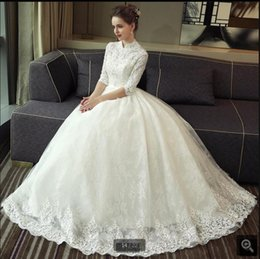 short ball gowns wedding dresses NZ - 2020 new High Neck Ball Gown Short Sleeve beach wedding dresses vestidos bridal gowns vestidos de noche vintage wedding gown