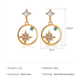 korea women party dress Canada - 10pcs Lot Korea Diamond Star Earrings Long Pattern Eight Star Ear Drop For Women Dress Up Alloy Hot New Dangle Ear Jewelry Accessories