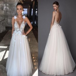 a0cf3a9e82 Berta 2018 Shiny Beaded Sequins Prom Dresses A Line Backless Spaghetti  Straps with Flowers Summer Boho Bridal Gowns Cheap Plus Size