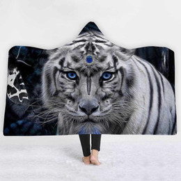 tiger beds NZ - White Tiger Printed Hooded Blanket For Adults Kids Animals Microfiber Bedspreads Warm Soft Throw Blankets On The Bed