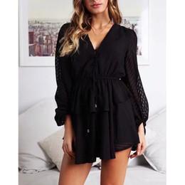 $enCountryForm.capitalKeyWord Australia - Women Button Mesh Jumpsuit Long Sleeve Ruffle Layered Lace Up Playsuit 2019 White Streetwear Sexy Romper