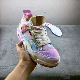 Wholesale multicolor jeans resale online - High Quality Denim Jeans Basketball Shoes Mens White Rainbow Designer Sports Sneakers s jumpman multicolor men Athletic Trainer