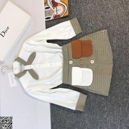$enCountryForm.capitalKeyWord Australia - Girls skirts sets kids designer clothing white shirt + check skirt 2pcs autumn polyester fabric sets fashion sweet style size 100-150cmnew