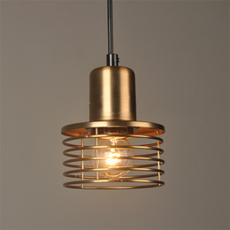 $enCountryForm.capitalKeyWord Australia - Loft retro Gold Industrial wind pendant lamp iron cage cord E27 pendant lights for dining room bedroom bar coffee Restaurant