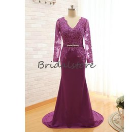 $enCountryForm.capitalKeyWord Australia - Rustic Light Purple Mother Of Bride Dresses V Neck Sheer Sleeves Lace Long Prom Evening Gowns With Beaded Belt Illusion Button Back 2019