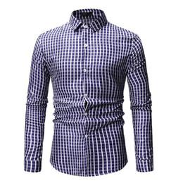 $enCountryForm.capitalKeyWord Australia - Casual Mens Dress Shirts Plaid Men's Shirt Long sleeve Blouse Men clothing Lapels Fashion Red Blue