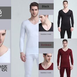 thin thermal underwear UK - Men's seamless V-neck thermal underwear Warm Underwear and clothes men's thin tight autumn clothes autumn pants suit velvet winter