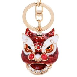 $enCountryForm.capitalKeyWord Australia - Ancient Mascot Figure Keychain Chinese Style Kylin Lion Dance Toy Collection Key Ring Exquisite Jewelry Men Women Gift NoveltySH190724