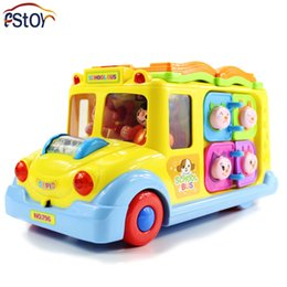 Discount electric car toy baby - Baby Toys Electric School Bus Children Music Car Including 8 Games Car Horn Songs Animal Calls Early Educational Kids To