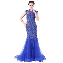 evening nails Australia - Fashion Evening Dresses Blue Tail - Heavy Manual Nail Bead Long Dance Party Dresses Mermaid Prom Dresses