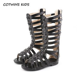 e86dc8ce68e379 CCTWINS KIDS 2018 Summer Baby Girl Knee High Gladiator Sandal Kid Fashion  Soft Flat Children Beach Gold Shoe Toddler BG063
