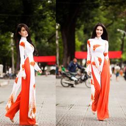 Wholesale vietnam white online – design Authentic Vietnam Aodai cheongsam Robe traditional high split wide leg pants two piece Suits horseshoe lotus thin Vietnamese Aodai Dress
