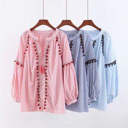 fringed shirts 2019 - 2019 Spring New Fringed Lacing Ball Striped Shirt Long Women's Tops Blouse B7075 cheap fringed shirts