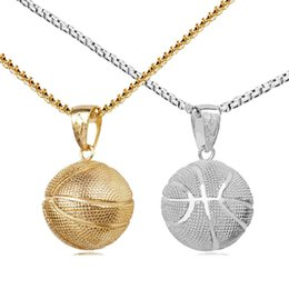 Wholesale Basketball Necklace Silver Gold Sport Basketball Necklaces Pendant Sports pendant Inspiration Fashion Jewelry Valentine Day Gift Drop Ship