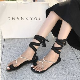 $enCountryForm.capitalKeyWord Australia - Crystal2019 Second Posimi Pearl Sandals Woman Fairy Wind Flat Bottom Cool Slipper Tassels Bandage On Vacation Beach Shoes Student