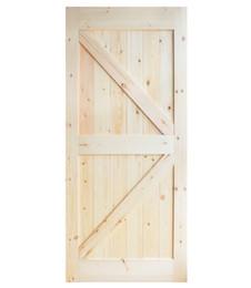 804e8a5cf Pino de madera online-DIYHD 36inX84in Pino Knotty deslizante granero puerta  de madera losa de