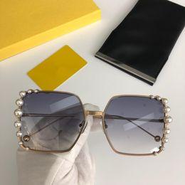 big black sun glasses 2019 - Luxury Sunglasses Women Big Square Frame Gray Brown Lenses Sunglasses for Women Brand Shades Pearly Sun Glass 0296S Come
