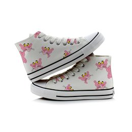 hand painted shoes canvas white UK - Hand-Painted Canvas Pink Panther Cartoon Shoes Women High Canvas Shoes Four styles Desighs for Choose White Casual Sneakers34-44