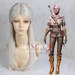 costume wigs women Australia - The Witcher 3: Wild Hunt Ciri Cosplay Wig Long Straight Synthetic Hair Silver Grey Halloween Costume Play Wigs For WomenMX190923