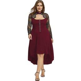 $enCountryForm.capitalKeyWord UK - Plus Size Lace Up Dip Hem Keyhole Dress