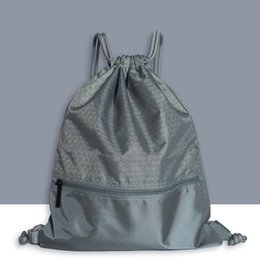 Large drawstring backpack online shopping - Women Men Large Capacity Travel Wear Resistant Sports Backpack Drawstring Lock Practical Fashion Anti splash Solid Zipper Pocket