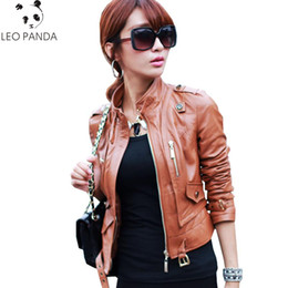 Discount sexy motorcycle jacket - Autumn women Sheepskin Genuine Leather Jacket 2019 New Casual Motorcycle Brown Sexy Slim Zipper OL Office Female Short J