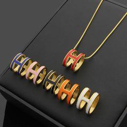 $enCountryForm.capitalKeyWord NZ - Bilincolor Rose Gold Stainless Steel Fashion Pendant Enamel H Letter Charm Necklace For Women J190711
