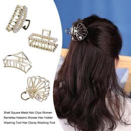women hair clamps 2019 - Shell Square Metal Hair Clips Women Barrettes Hairpins Shower Hair Holder Washing Tool Clamp Washing Tool discount women