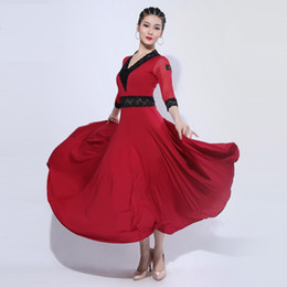 dress hemlines UK - H2661 Women Ballroom Dance Dress Waltz Modern Dancing Big Hemline Costumes Female Professional Performance Competition Clothes