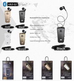 Wholesale AKZ Q1 Flexible Business Car Driving Wireless Bluetooth In Ear Q1 Retractable Clip ON Single Headset Earphones V5 Cell Phone Earphones