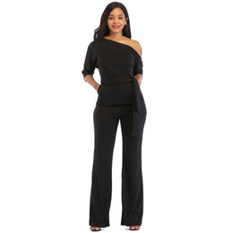 $enCountryForm.capitalKeyWord UK - 2019 Solid Color Jumpsuit Women Halter Half Sleeve Strapless Shoulder Stretch Wide Long Pants Casual Jumpsuit Rompers